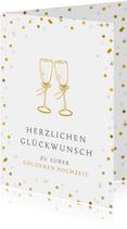 Glückwunschkarte zur goldenen Hochzeit Sektgläser