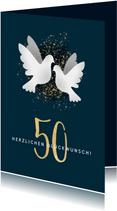 Glückwunschkarte zur goldenen Hochzeit Weiße Tauben