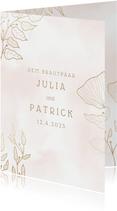 Glückwunschkarte zur Hochzeit filigrane Blätter