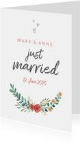 Glückwunschkarte zur Hochzeit Just married mit Blumen