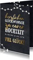 Glückwunschkarte zur Hochzeit Lichterkette und Typografie