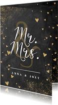 Glückwunschkarte zur Hochzeit 'Mr. & Mrs.' Kreideoptik