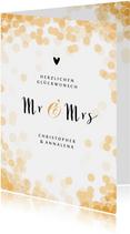 Glückwunschkarte zur Hochzeit Mr. & Mrs. mit Konfetti