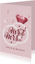 """Glückwunschkarte zur Hochzeit Ringe """"Mr. und Mrs."""""""