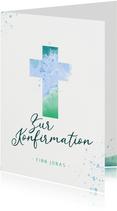 Glückwunschkarte zur Konfirmation Kreuz Aquarell