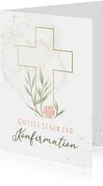 Glückwunschkarte zur Konfirmation mit Blumenkreuz