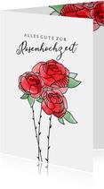 Glückwunschkarte zur Rosenhochzeit rote Rosen