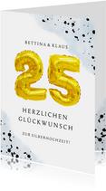 Glückwunschkarte zur Silberhochzeit mit Zahlenballon