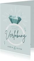 Glückwunschkarte zur Verlobung Ring und Lettering