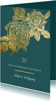 Goldene Hochzeit Glückwunschkarte Rosen in Gold