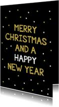 Kerstkaarten - gouden confetti kerstkaart