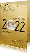 Goudlook nieuwjaarskaart 2022 spetters en foto