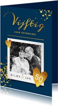 Goudlook stijlvolle jubileumkaart 50 jaar met foto