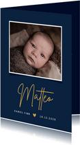 Grafische Geburtskarte mit eigenem Foto blau