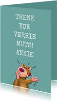 Grappige bedankkaart met grappige teksten en beertje