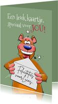 Grappige beer stuurt kaart aan de jarige verjaardagskaart