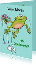 Grappige beterschapskaart kikker met bloemen