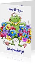 Grappige beterschapskaart kikker met bossen bloemen