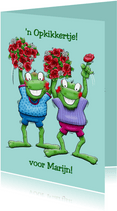 Grappige beterschapskaart met 2 kikkers en rozen