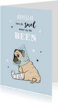 Grappige beterschapskaart met mopshondje en sterretjes
