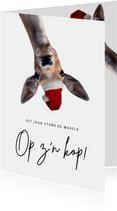 Grappige Corona nieuwjaarskaart - de wereld op z'n kop
