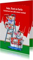 Grappige felicitatie muizen die een muur rood schilderen