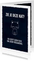 Grappige felicitatiekaart met leuke tekst en kat