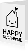 Grappige felicitatiekaart nieuw huis met oogjes en hartjes