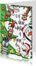 Grappige geïllustreerde kerstkaart oh dear, what a year