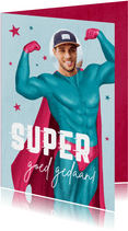 Grappige geslaagd kaart man superman foto goed gedaan