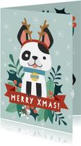 Grappige kerstkaart met illustratie van hondje en takjes