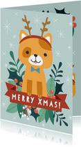 Grappige kerstkaart met illustratie van kat en takjes