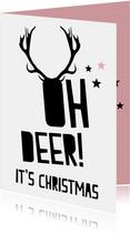 Grappige kerstkaart Oh deer!