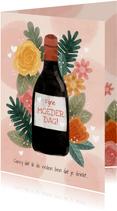 Grappige moederdag kaart met bloemen, plantjes en fles wijn