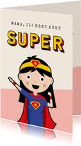 Grappige moederdagkaart - moeder als superheld wonder woman
