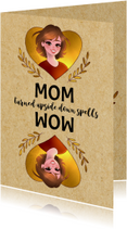 Grappige moederdagkaart - MOM Turned Upside Down Spells WOW