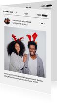 Grappige social media kerstkaart tijdlijn met foto