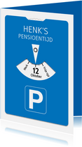 Grappige uitnodiging  parkeerkaart voor je pensioen