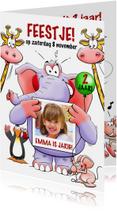 Grappige uitnodiging voor kinderfeest met leuke dieren