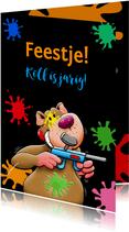 Grappige uitnodiging voor kinderfeest paintball met beertje