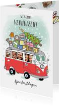 Grappige verhuis kerstkaart met volkswagenbusje en foto's