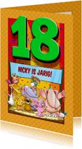 Grappige verjaardagkaart met leeftijd 18 jaar