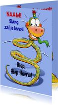 Grappige verjaardagkaart slang met lange nek 3 jaar
