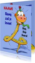 Grappige verjaardagkaart slang met lange nek 4 jaar
