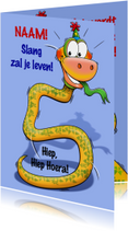 Grappige verjaardagkaart slang met lange nek 5 jaar