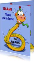 Grappige verjaardagkaart slang met lange nek 6 jaar