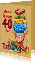Grappige verjaardagskaart aap met grote trom 40 jaar