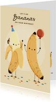 Grappige verjaardagskaart bananen, ballon en confetti