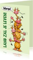 Grappige verjaardagskaart gestapelde giraffen