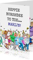 Grappige verjaardagskaart Happy Burshdee To Yoe polonaise